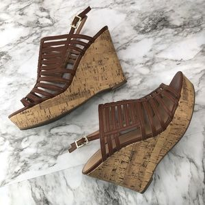 Franco Sarto Brown Caged Wedge Sandal Sombre 10
